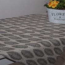 Tischläufer Schwarze Blätter auf Silber