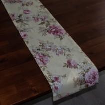 Tischläufer Große Rose auf Creme